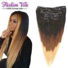 Brazilian Straight Hair Clip In Hair Extensions 100g/7pcs/set T1b/4/27 African American Clip In Human Hair Extensions Human Hair