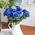 10 Unids/lote Verdadero Toque de Flores de la Boda en Casa Azul Flor color de Rosa Artificial Ramo de Flores Decorativas y Coronas