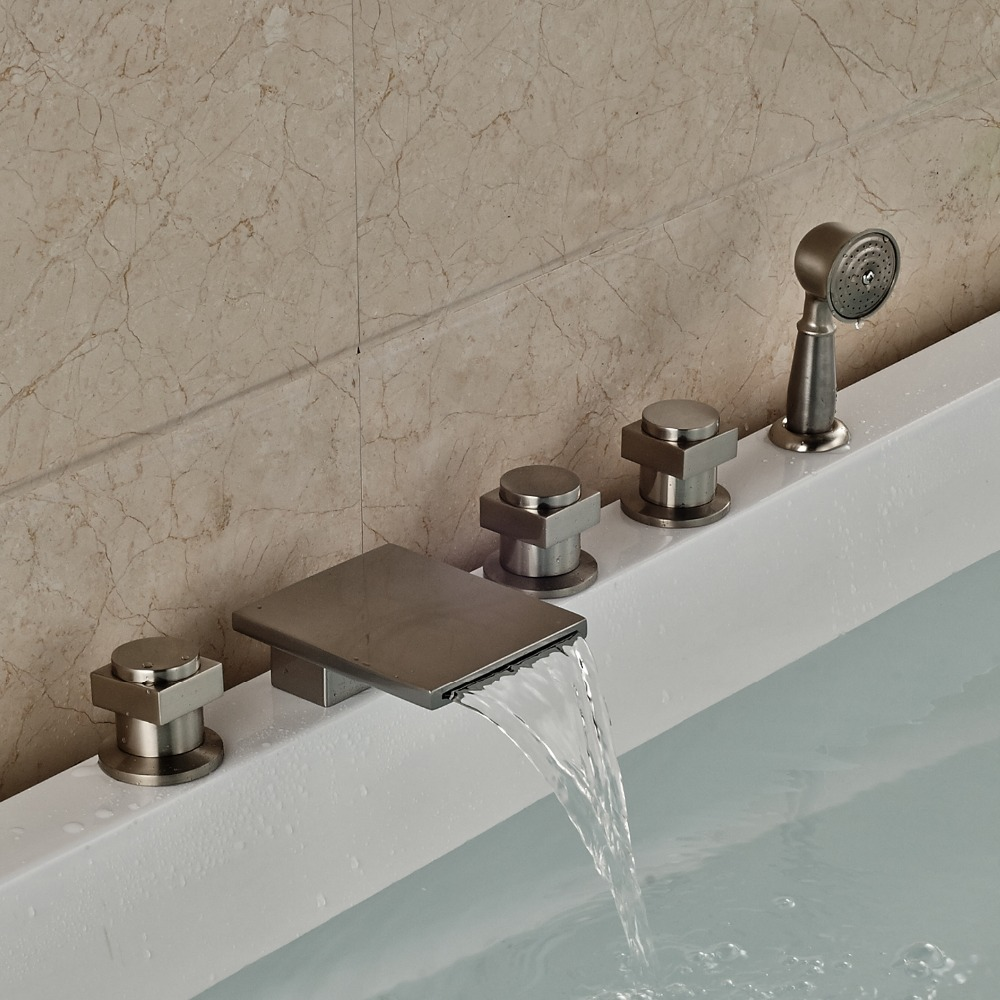 Waterfall Spout Bathtub Faucet 5 Holes Mixer Tap With Hand Shower Nickel Brushed Finished гарнитура sony mdr xb550ap накладные красный проводные