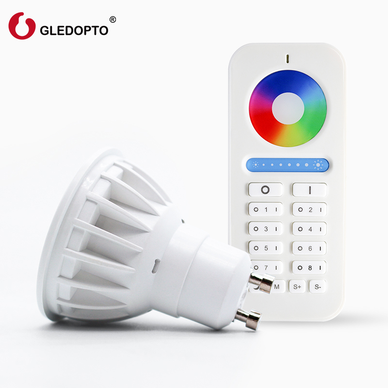 GLEDOPTO 2.4g 4W Gu10 LED Spotlight Bulb Lamp LED 8-zone remote controller Wireless Dimmable RGBW LED light AC100-240V gu10 led