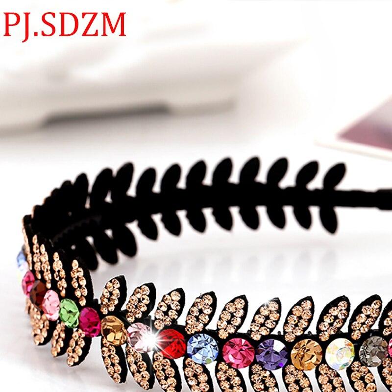 7931ec5b4be Detail Feedback Questions about Luxury Bright Austria Crystal Headbands All  Match Leaf Rhinestone Hairbands Woman Hair Accessory Headwear Birthday Gift  ...