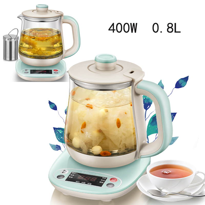 JA45,0.8L High Boron Glass Electric Kettle Thermal Insulation Flower Teapot Health Preserving 10H Timed Anti-dry Protection цены онлайн