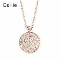 BAIHE Твердые 18 К розовое золото 1.1ct Certified F G/SI круглый 100% из натуральной бриллиантами для женщин Свадебные Ювелирные украшения подарок