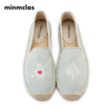 Minmclas Summer Embroidery Alpargatas Comfortable Ladies Womens Casual Espadrilles Shoes Breathable Flax Hemp Canvas for Girls