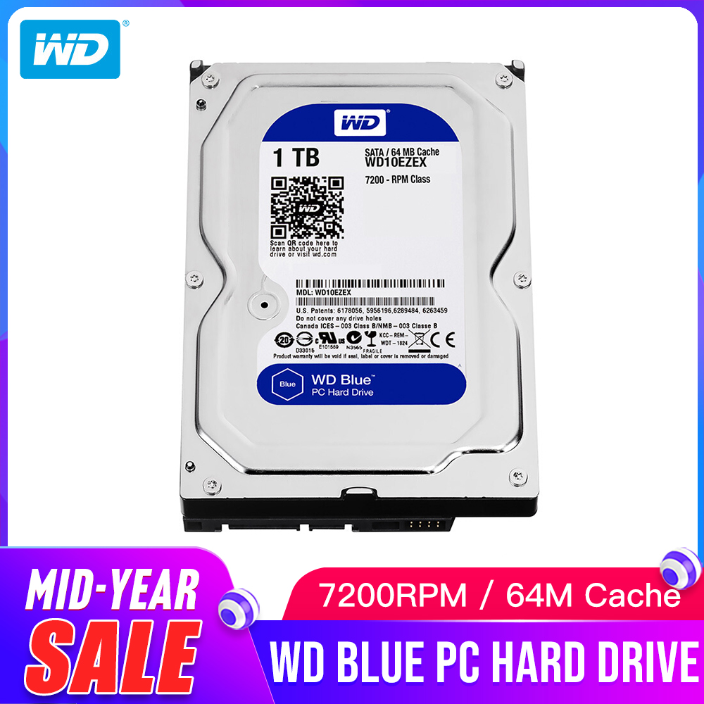 1TB WD Blue <font><b>3.5</b></font> <font><b>SATA</b></font> 6 GB/s <font><b>HDD</b></font> <font><b>sata</b></font> internal hard disk 64M 7200PPM drive desktop <font><b>hdd</b></font> for PC WD10EZEX image