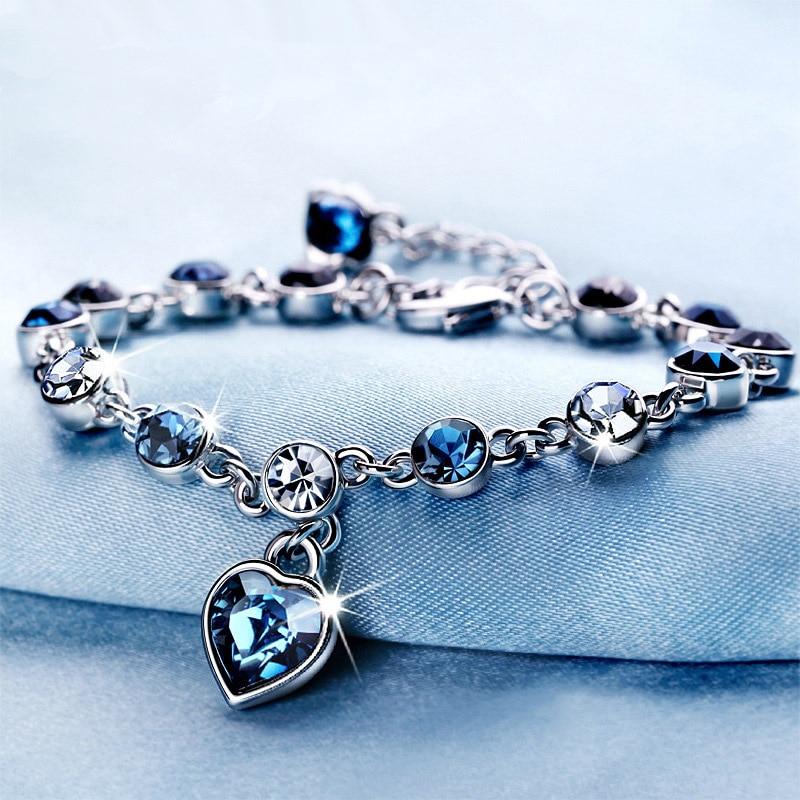 LKO new arrive Bracelet popular wedding Female Heart Crystal Bracelets For Women Luxury Temperament Silver-Color Jewelry