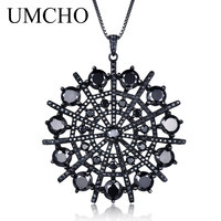UMCHO Hyperbole Gemstone Black Spinel Necklace Pendants Solid 925 Sterling Silver Female Jewelry For Women Gift Fine Jewelry