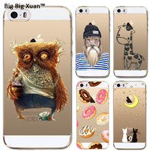 For Apple iPhone 5 5s SE Fashion Cute Animal Giraffe Lion Owl Cartoon Paint Cases Clear
