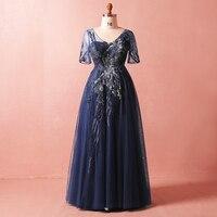 Плюс Размеры Темно синие v образным вырезом Бисер кружева Vestidos De Festa See Through вечерние длинные вечерние платья короткий рукав выпускного вечер