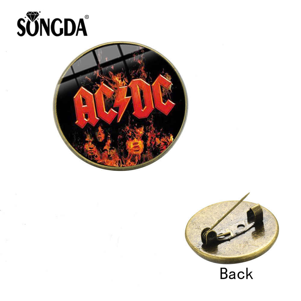 SONGDA AC/DC POP Rock Band Brooch Fashion Hard Rock Music ACDC Logo Handmade Glass Crystal Dome Lapel Pins Metal Badge Fans Gift