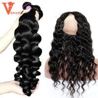 Loose Wave 3 Human Hair Bundles With Closure 360 Lace Frontal With Bundle 4 Pcs Brazilian