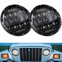7inch LED Halo Headlights 7 LED Headlight H4 Hi/low Auto Headlight With Angle Eye For Jeep Puch Kenworth Nissan Suzuki Samurai