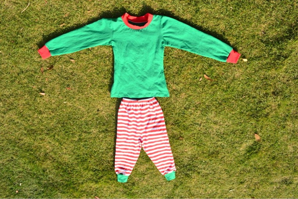 Fashion Couple Pajamas Red and Green Stripe new year clothing Winter newborn baby christmas Holiday outfits
