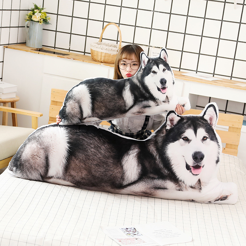 80cm Simulation Dog Cat Plush Toys Soft Stuffed Animals Pillow Cushion Cartoon Husky Doll for Children Kids Gifts Bed Sofa Decor