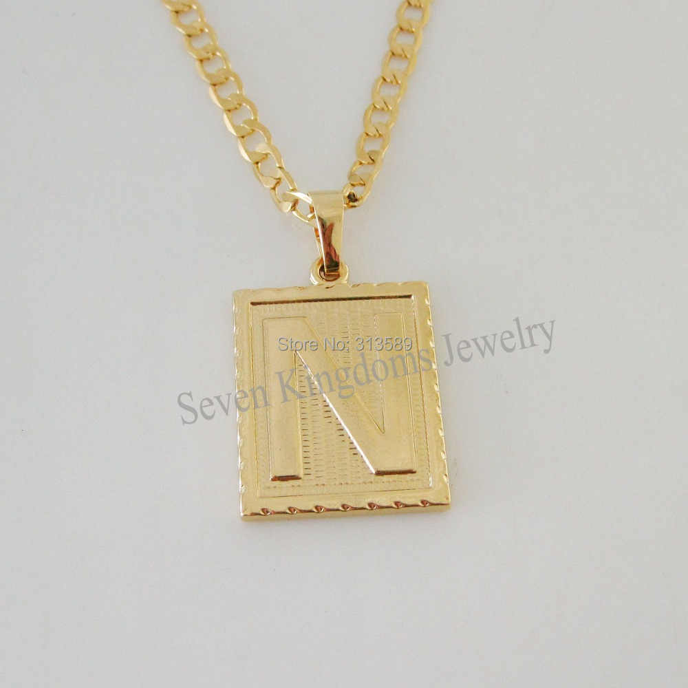 "Min order 10$/ - YELLOW GOLD OVERLAY FILLED BRASS 24"" CUBAN NECKLACE&LETTER N INITIAL PENDANT/Great Gift/"