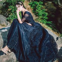 2018 Spring New Gorgeous Embroidered Lace Ball Gown Party Dress V neck Half Sleeve Black Maxi Dress Vestidos Mujer Robe Femme
