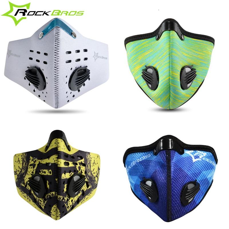 Prix pour ROCKBROS Anti-Brouillard Hiver Vélo Masque La Pollution avec Vélo Masque Filtre Vélo Carbone Masque Visage Néoprène Activé Traning Masques