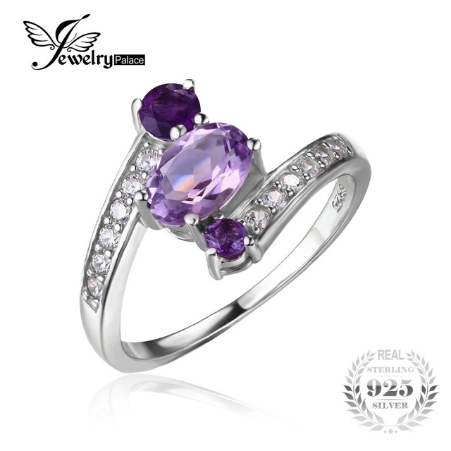 JewelryPalace 925 Sterling Silver 0.9ct Natural Amethyst 3 Stone Anniversary Ring For Women Fine Jewelry Gift For Lovers
