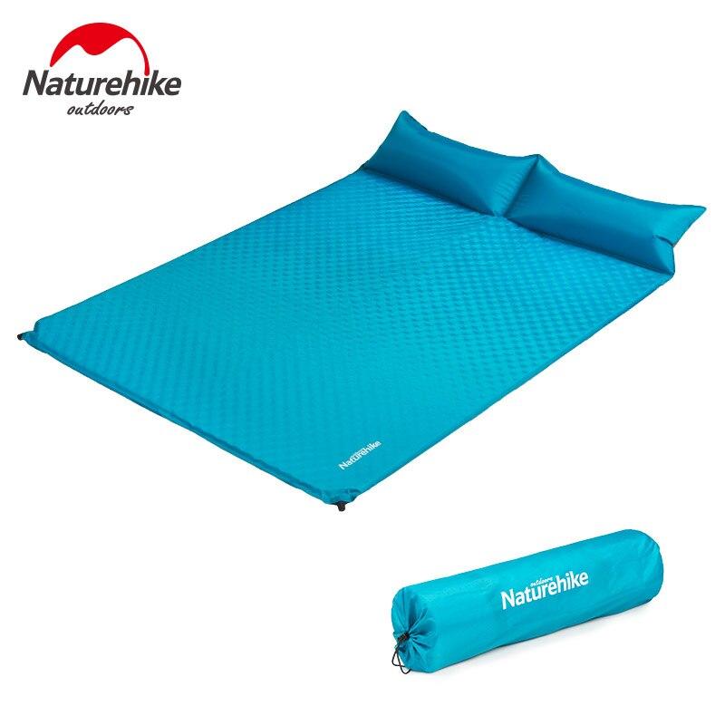Naturel randonnée Double matelas gonflable lit d'air extérieur Camping tapis voyage tente étanche à l'humidité tapis de couchage avec oreiller Yoga tapis