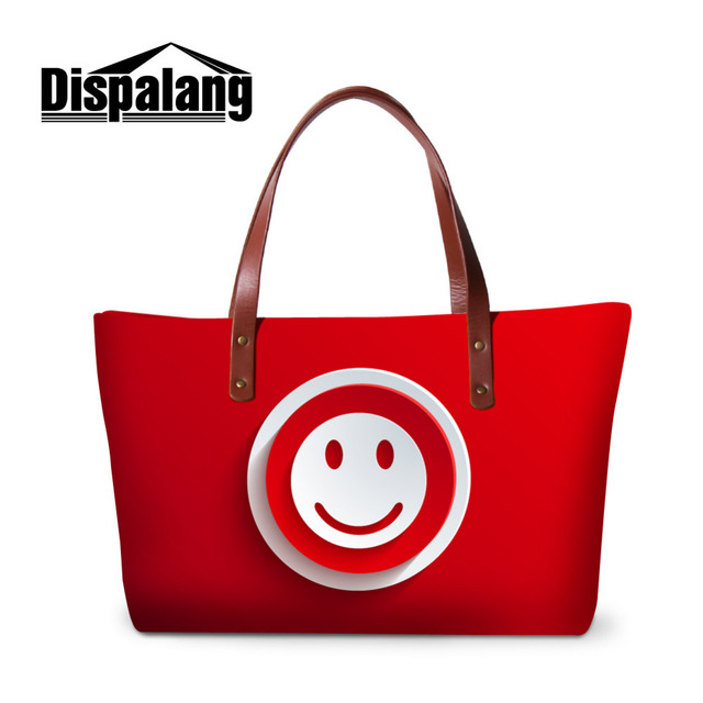 Dispalang Smiley Face Handbags Icon Print Women Bags Designer Female  Shoulder Bags Ladies Large Tote Hand b968d4e6ce