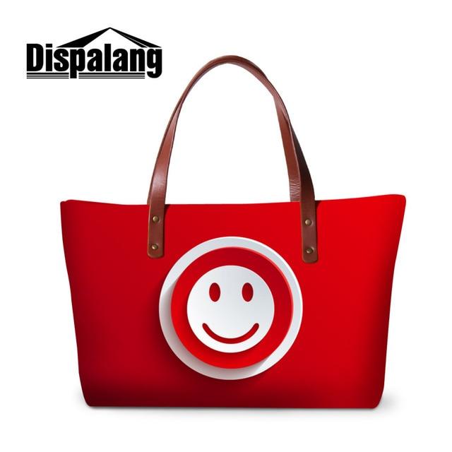 Dispalang Smiley Face Handbags Icon Print Women Bags Designer Female  Shoulder Bags Ladies Large Tote Hand 4f808390949be