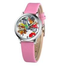 Модные детские часы для мальчика кожа strapanimated мультфильм патруль щенок наручные Студент Повседневное кварцевые часы Прекрасный мультфильм