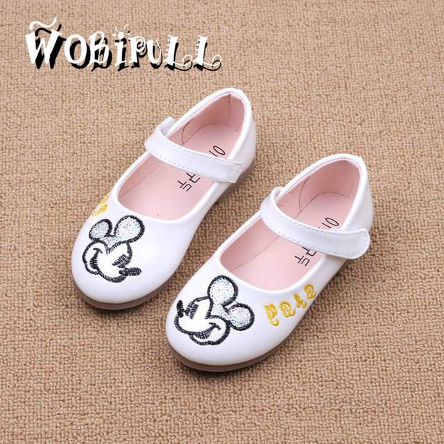 2017 primavera de couro menina shoes princesa dos desenhos animados único shoes moda lantejoulas sandálias das crianças das crianças shoes babyshoes 21-30