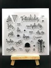 Sello de silicona transparente español WORDS 1, sello para álbum de recortes DIY, hojas de sello transparente decorativas A579