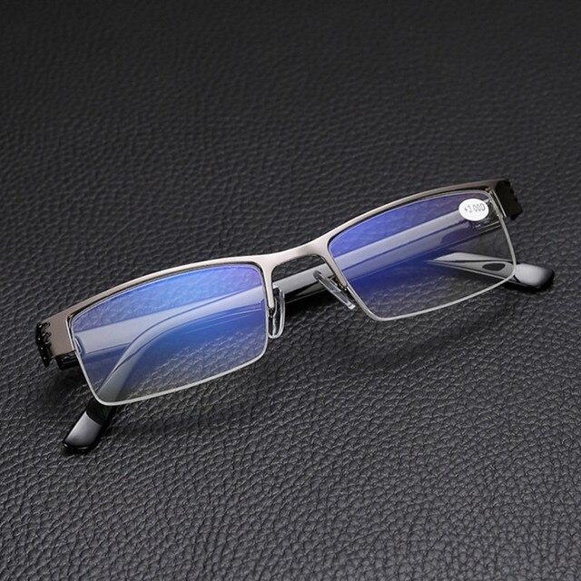 NYWOOH Men Reading Glasses Blue Film Resin Prescription Eyeglasses Diopter +1.0 +1.5 +2.0 +2.5 +3.0 +3.5 +4.0