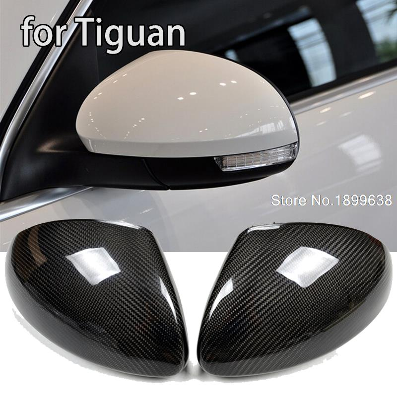 цена на NEW 1:1 Replacement Carbon Fiber Rear View Mirror Cover car styling for Volkswagen Tiguan 2009 - 2015