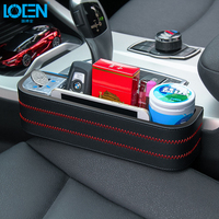 LOEN 2PCS LOT Car Seat Gap Filler Catcher Pocket PU Leather Surface ABS Inside Auto Organizer