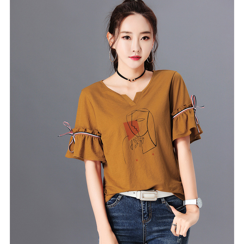Chemisier Femme Womens Tops Fashion 2018 summer Linen White Shirt Women Bow Print Blouse Korean Woman Clothes Roupas Femininas