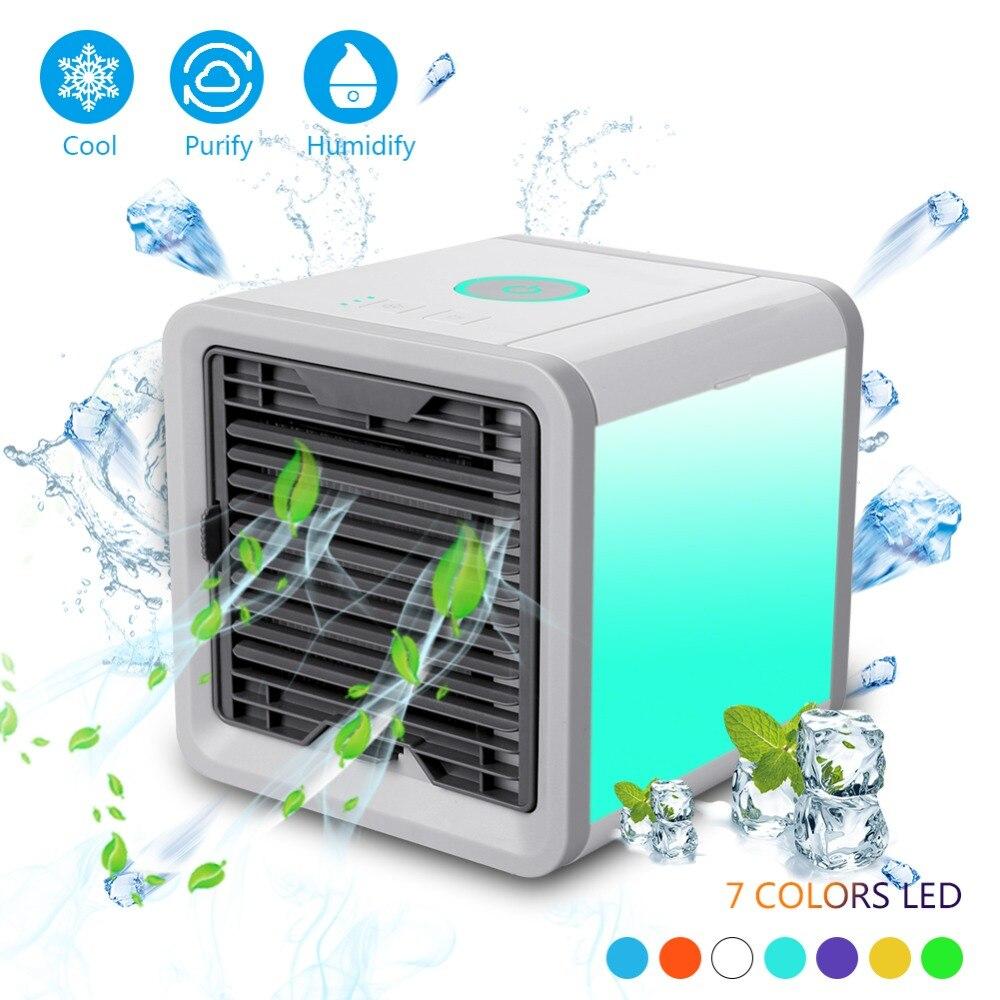 Portable climatiseur humidificateur purificateur USB Mini 7 couleurs lumière bureau Air refroidissement ventilateur Air refroidisseur ventilateur pour bureau maison Usb