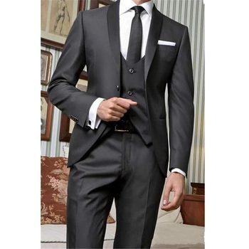 Fashionable One Button Black Groom Tuxedos Groomsmen Shawl Lapel Mens Suits Blazers (Jacket+Pants+Vest+Tie) W:991