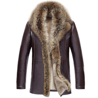 Business Men Leather Fur Jacket Coat turn down fur Collar Male Solid Color Winter warm Thicken Leather Jacket Casual Outwear