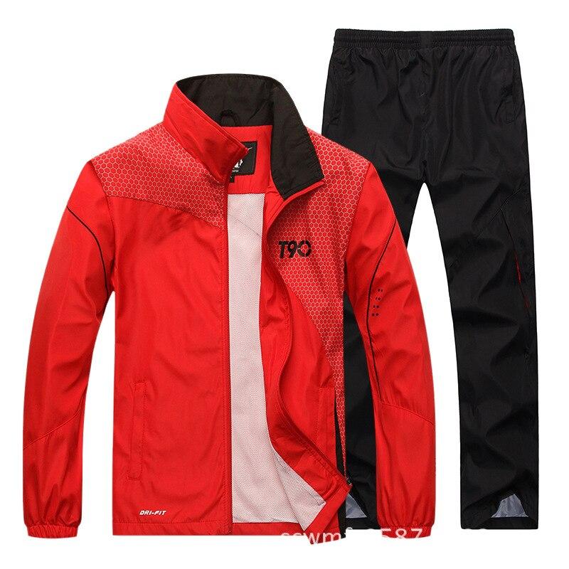 2019 spring Running Sets Men Sport Suits Sportswear Set Polyester Fitness Training Warm spring Tracksuit Zip Pocket Jogging Suit