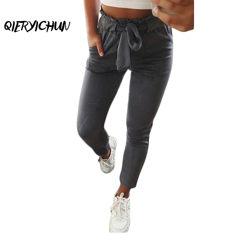 Fashion Autumn Vintage Gray Army Green Casual High Waist   Pants   Women   Pants   Trousers Female Streetwear   Capris   Suede Leather   Pants