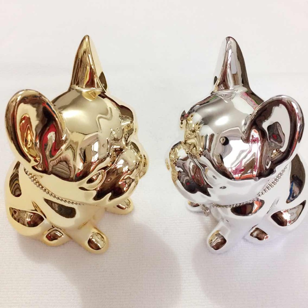 handmade silver gold plated bulldog money bank shiny dog figurine ornaments creative children gifts elegant home decors