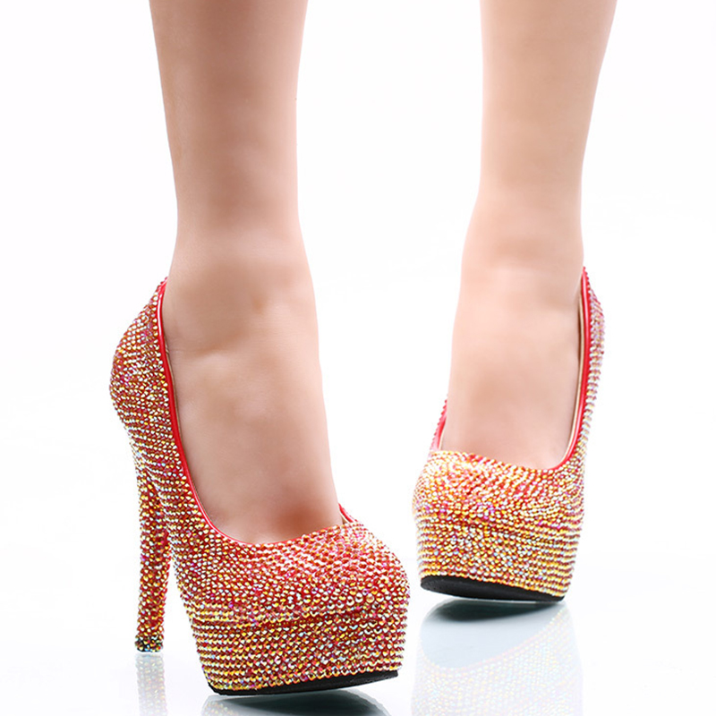 ФОТО 2017 New Designer Beautiful Red AB Color Wedding High-Heel Rinestone Round Toe Bride Dress Shoes Nightclub Cinderella Prom Pumps