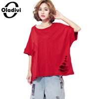 Oladivi Plus Size Women Clothing Fashion Ladies Destroyed Hole Tees Shirts Casual Female Tops Tunics Loose