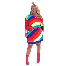 33febf305eb9 winter long sleeve women v-neck colorful striped print loose sweatshirt  dress above knee sexy sporty fashion mini dresses LS6187