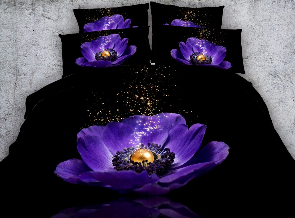 3pcs black bed sheets with mystic purple flower bedding set hd digital purple duvet covers single queen super king size bedlinen