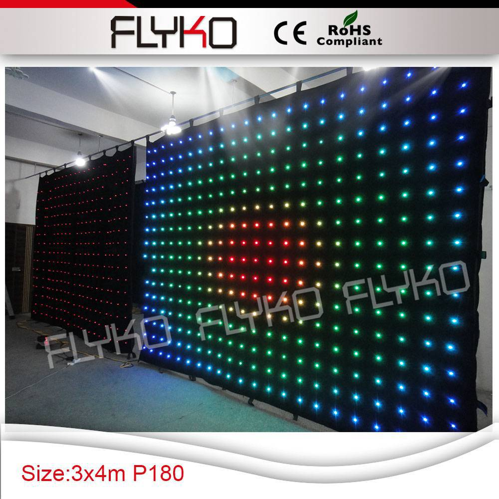 p18 3x4m free shipping black fabric for backdrop led lighted stage backdrop curtain