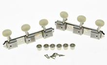 KAISH Nickel w/ Ivory Vintage 3 on a Plate 3×3 Guitar Tuning Keys Tuners for LP SG JR