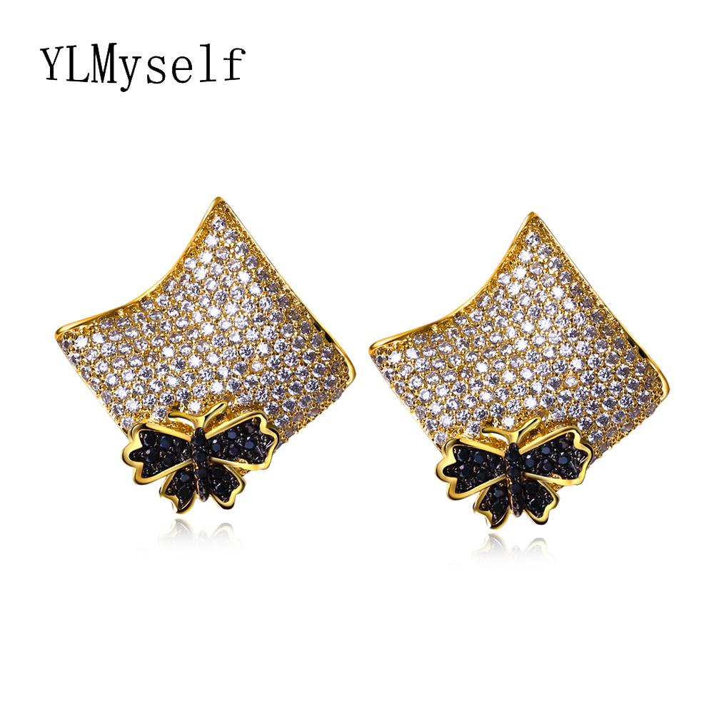 Large Gold color Butterfly earrings Square shape brincos jewelry oorbellen Fashion Flower big Crystals Stud Earring for Women