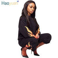 HAOYUAN 2 Piece Set Women Fire Flame Print Long Sleeve Sweatshirt Tops Pants Sweat Suits Casual