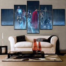 5 Panel Canvas Printed Picture Justice League And Wonder Woman Superman Batman Movie Shadow Poster Home Decor Wall Art