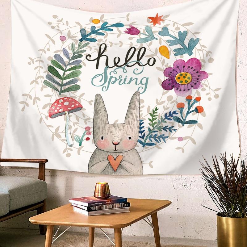 White Simple Animal Printed Wall Hanging Panda Cartoon Wall Art Home Docoration Sitting Mat Alphabet Tapestry Carpet Wall Towels