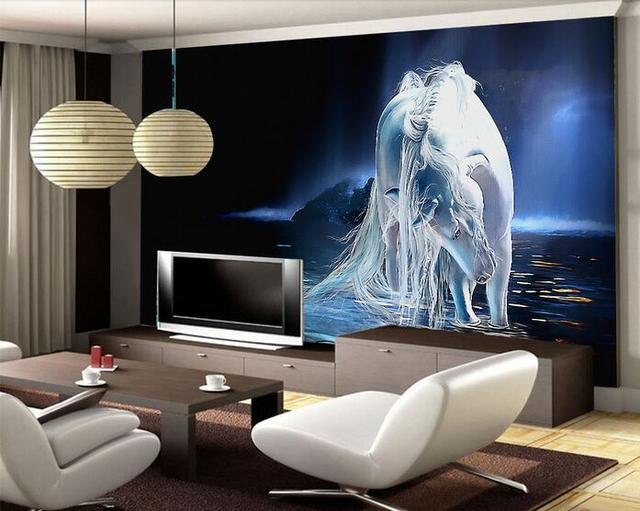 3d wallpaper custom mural non woven wall sticker 3d white horse background wall by river
