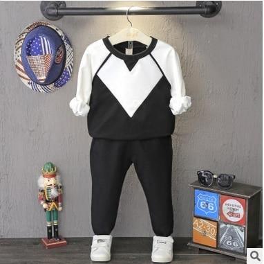 Children suit 2016 Hitz font b Boys b font Black white color sweater pant suit two